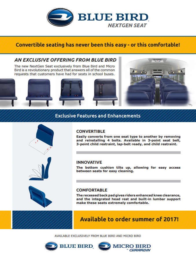 nextgen seats available on all blue bird school buses colorado